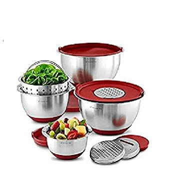 Wolfgang Puck Stainless-Steel Mixing Bowls with Lids, 12-Piece Set