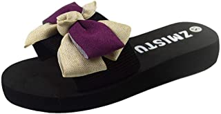Women Open Toe Slipper Sandals, Ladies Solid Bowknot Flip-Flop Breathable Sandals Beach Shoes