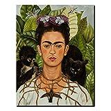 Frida Kahlo Pintura Al Óleo Picture Reprint Poster Art Frida Kahlo Self-Portrait with Monkey And Black Cat Poster Painting Arte De Pared Decor La Sala De Estar Del Dormitorio, Sin Marco,60x80cm