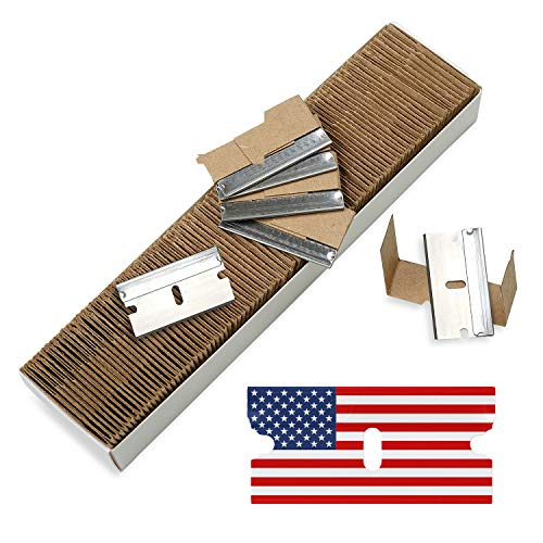 CANOPUS Single Edge Industrial Razor Blades,%100 Made in USA, Safety Straight Edge Razors, Box & Carton Cutter Replacement Blades, Glass & Paint Scraper Razor Blades (Box of 100)
