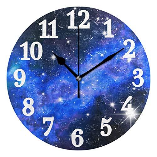 Ahomy Runde Wanduhr Galaxie Sterne Weltraum Sternenhimmel Nacht Sky Home Art Decor Non-Ticking Ziffern Uhr für Home Office 1 x AA Batterie (nicht im Lieferumfang enthalten)