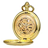 TREEWETO Reloj de bolsillo con cadena para hombre, analógico, cuerda a mano, doble caja, engranaje antiguo, números romanos, color dorado