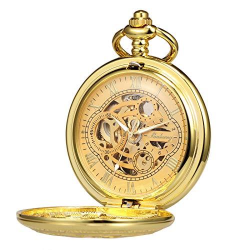 TREEWETO Orologio da tasca con catena da uomo Analogico a carica manuale Doppia Cassa Antico Gear Numeri Romani Oro
