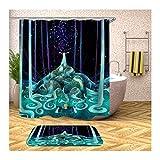 Amody Badematte Duschvorhang Anti Schimmel Karikatur 180x200CM Vintage Bad Vorhang 40x60CM Teppich Badezimmer Waschbar