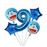 Wgxssjc Globo Los niños 5pcs Foil Globo de Dibujos Animados 1 2 3 5 años Globo de Aire Inflable Fiesta de cumpleaños Doraemon Decoración 4 (Color : 9)