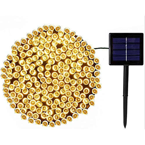 HONGRU Solar String Lights Outdoor, 200 LED 65.5ft Solar Christmas Lights, Waterproof Fairy String Lights for Garden Patio Fence Holiday Party Balcony Decorations, Warm White (1 Pack)