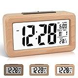 DTKID Despertador Digital de Madera de fácil configuración con Temperatura, Fecha, luz de Fondo, repetición, para Dormitorio, mesita de Noche, hogar, Oficina, sin tictac (Marrón Claro)