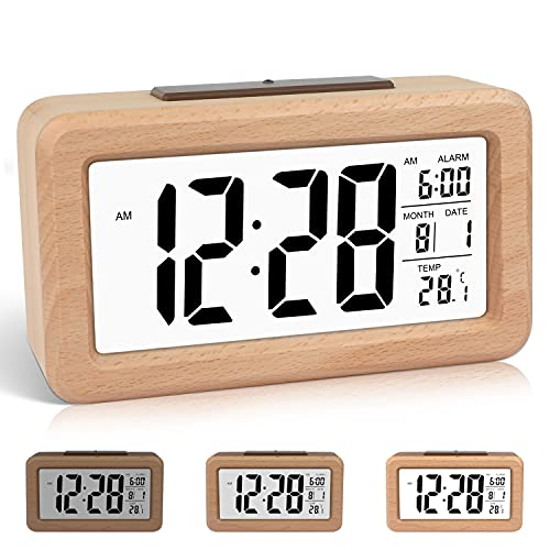 DTKID Easy Setting Wooden Digital Alarm Clock with Calendar & Temperature,Darkness Sensor,Backlight,12/24 Hours,Snooze Function,for Bedroom,Home and Office (Brown)