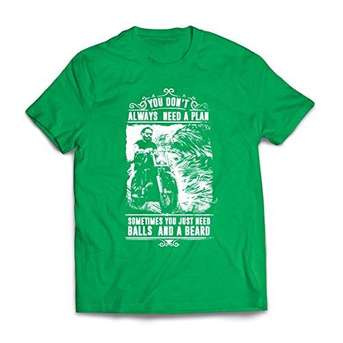 lepni.me Camisetas Hombre Usted no Siempre Necesita un Plan - Motocicleta, Amor para Viajar, Gran Regalo para el Motorista (Large Verde Multicolor)