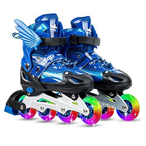 Blusea Inline Skates Kinder und Erwachsene Verstellbare leuchtenden Rädern Outdoor Inline Skates Blau/Golden/Pink/Rot(Optional)
