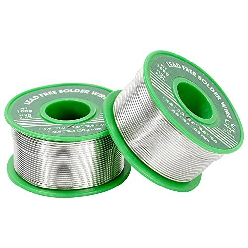 ZITFRI Lot de 2 bobines de fil d'étain pour soudure de 1mm, 100g, sans plomb, haute performance, pureté de 99,3%
