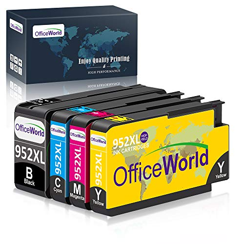 OfficeWorld Compatible Ink Cartridge Replacement for HP 952 XL 952XL Work with HP Officejet Pro 8710 8720 8702 8715 8740 7740 7720 8730 8210 8216 Printer (1 Black, 1 Cyan, 1 Magenta, 1 Yellow)
