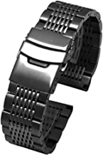 Solid Stainless Steel Mesh Watch Band Deployment Buckle Brushed/Polished Strap Bracelets 20mm/22mm/24mm for Men Women Blac...