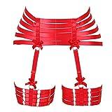 BBOHSS Arnés para el Cuerpo para Mujer, Liguero Punk, Jaula para piernas, Medias góticas, Accesorios Ajustables para Disfraz de Baile de Carnaval (Rojo)