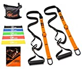 Resistance Trainer Straps Bundle | Bodyweight Fitness Training Equipment Kit + Door Anchor +5 Exercise Loop Bands | Home Suspension Workout Straps kit | Exercise Booklet | Home&Travel