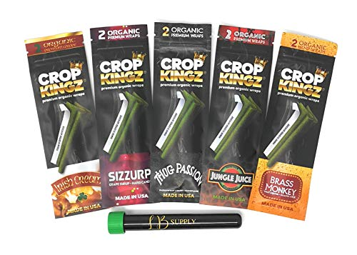 Leaf Butler & Crop Kingz Wraps | 2 Wraps/Pack | Self Sealing Technology | Comes with LB Doob Tube & Scoop Card (5 Pack)