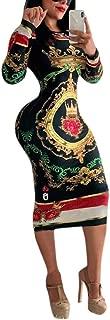 Women Bodycon Club Dress Long Sleeve Dashiki African Print Midi Dresses