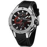 MEGIR Sport Herren Uhren Schwarz Silikonarmband mit Chronograph Wasserdicht Quarz Uhr für Männer