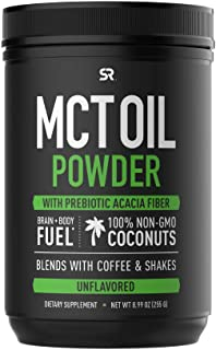 Mct Oil Powder with Prebiotic Acacia Fiber - Keto Certified with Zero Net Carbs - Sourced from Non-GMO Coconuts - Great in Coffee, Shakes & More! (Unflavored)