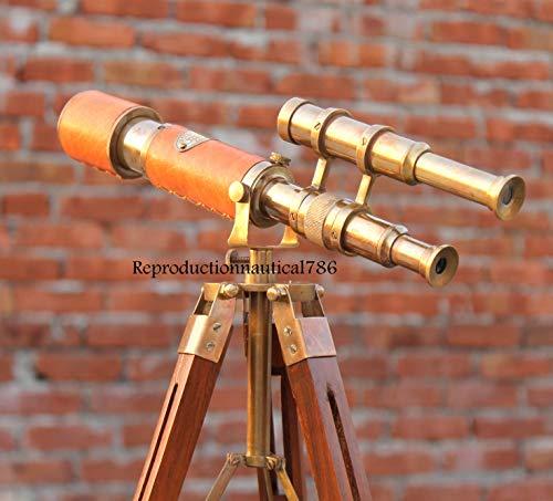 Nautical Handmade Instruments Telescopio Decorativo de latón náutico Antiguo con trípode de Madera y Vista de balcón, Regalo de Escritorio, decoración
