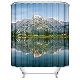Bishilin Polyester-Stoff Vintage Duschvorhang 90x180 cm Berge See Anti-Schimmel Duschvorhang