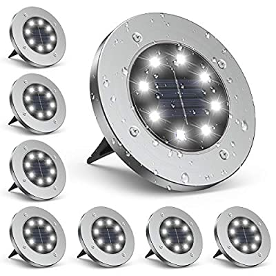 Solar Ground Lights, Infray Solar Disk Lights Outdoor Garden Waterproof in-Ground Lights, 8 LED Solar Lights Landscape Light for Garden Yard Lawn Patio Pathway - 8 Pack (White)