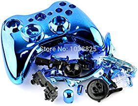Chrome Full Housing Shell Cover Case Kit with Full Set Replacement Parts for Xbox 360 Wireless Controller T6 T8 Screwdrivers for Free (Blue)