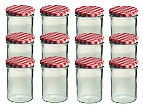 CapCro 12er Set Sturzglas 435 ml Marmeladenglas Einmachglas Einweckglas to 82 rot Karierter Deckel