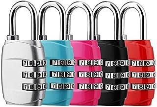 Candado de Combinación, DazSpirit 3 dígitos Candado de Seguridad de Viaje para Maletas de Viaje Estuche para casilleros Mochila de Gimnasia Paquete (5 Colores Nuevos)