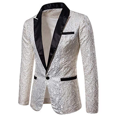 Herren-Blazer, reine Farbe, Jacquard, modisch, formelle Kleidung, Revers, Abendkleid, Hochzeit, Blazer, Halloween/Mantel Gr. XX-Large, weiß