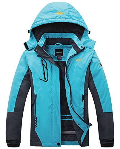 Wantdo Women's Mountain Waterproof Fleece Ski Jacket Windproof Rain Jacket, XX-Large, Blue