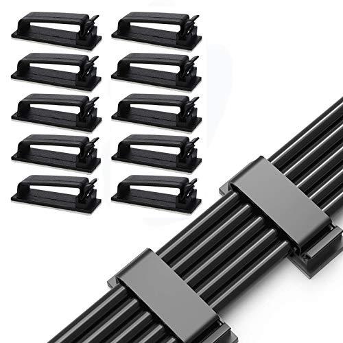 50 Piezas Clips de Gestión de Cables, Clips de Cable Negro, Abrazaderas de Cable Adhesivo Clips de Cable, para Organizar Cables y Cables de Red, TV PC Laptop Home Office