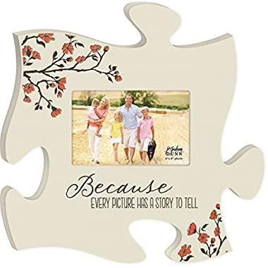 Every Picture Has a Story to Tell White Floral 12 x 12 Wall Hanging Wood Puzzle Piece Photo Frame