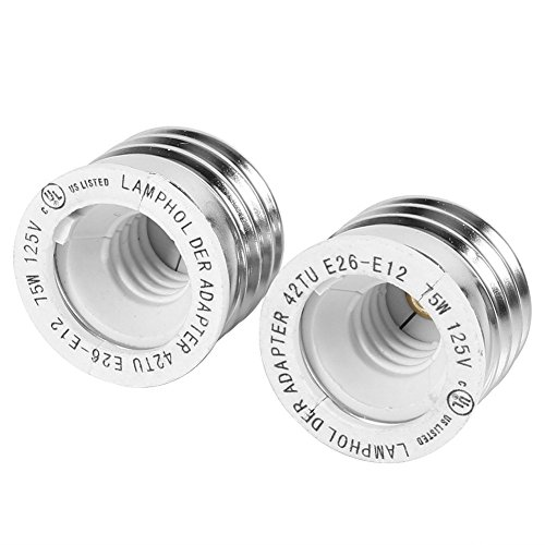 2pcs YiLighting - Standard Socket Medium Base Edison Screw (E26/E27) to Candelabra Screw (E12) Light Bulb Socket Adapter Converter Reducer (E26/E27 to E12)