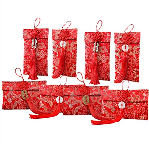 Warmshine 8 Pack Chinese Silk Red Envelopes New Year Red Money Pockets, Envelopes Can Hold 100 Sheets, 4 Styles Chinese Traditional Embroidery