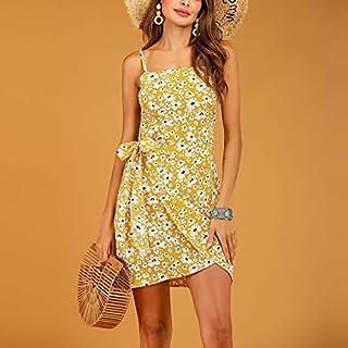 QGTDRESS Temperament Commuter Slim Thin Printed Chrysanthemum Dress, Size: M(Yellow) (Color : Yellow)