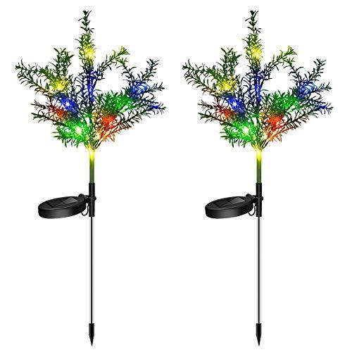 RUNYN Lot de 2 lampes solaires d'extérieur avec 7 couleurs changeantes IP65 étanches pour jardin, terrasse, pelouse, cour avant, Plastique, Couleur (2 pièces)., Choose Solar Christmas Tree Lights