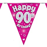 90th Birthday Pink Birthday Party Flag Banner Bunting Age 90