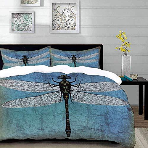 ropa de cama: juego de funda nórdica, libélula, fondo antiguo vintage Grunge e imagen de libélula Ombre Bug, turquesa azul oscuro y bla, funda nórdica de microfibra con 2 fundas de almohada de 50 x 75