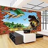 Mural Papel Pintado Dinosaurio animal de pared de ladrillo Fotomural para Paredes Papel pintado tejido no tejido Decoración de Pared decorativos Murales moderna 350(W)X256(H) cm