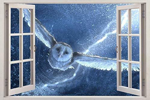 Wandtattoo Owl 3d window view decal home decoration art mural bird