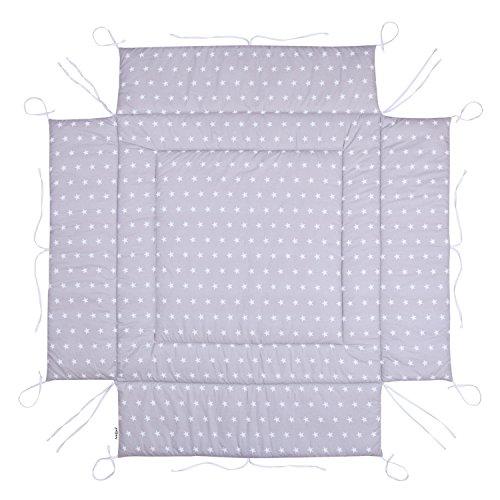 Amilian Laufstalleinlage Laufgittereinlage Schutzeinlage Baumwolle für Laufställe Laufstall Spielstall 100 x 100 cm Sternchen grau