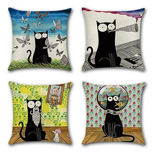 Artscope Funda de Cojín 45x45cm Juego de 4,Funda de Almohada para Cojín Cuadrado Poliéster Lino para Sofá Cama Hogar Decorativo (Gato Negro de Dibujos Animados)