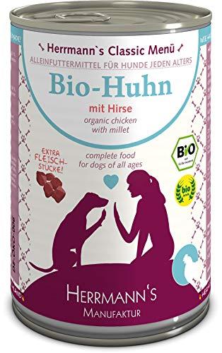 Herrmanns Bio Hundefutter Huhn Menu 2 mit Hirse, Kürbis, Zucchini 400 g, 12er Pack (12 x 400 g)