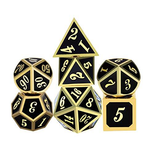 iFergoo DND Metall Würfel, 7 Stücke Polyedrischen Spiel Würfel mit ,Puncher und für Rollenspiele D & D Pathfinder Shadowrun (Black & Gold)