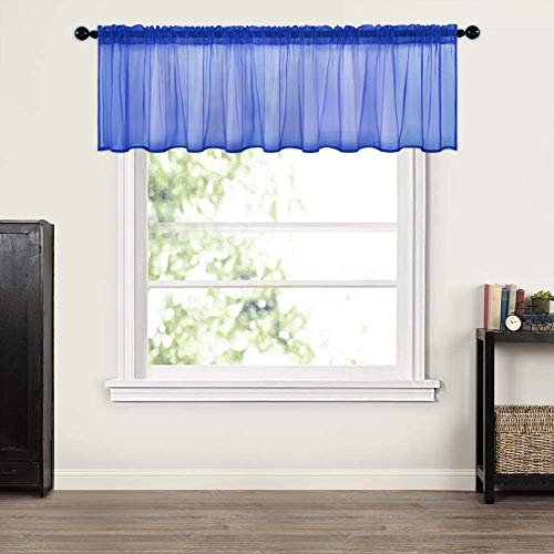 MIULEE Window Valance Half Window Sheer Curtains Rod Pocket Semitranslucent Voile Drapes Extra Wide for Small Window Kitchen Cafe One Panel 60 x 18 Inch Navy Blue