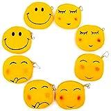 JZK 8 x Smiley peluche portafoglio portamonete Emoji 11 cm emoticon borsetta piccola velluto mini borsa cerniera regalo compleanno Natale