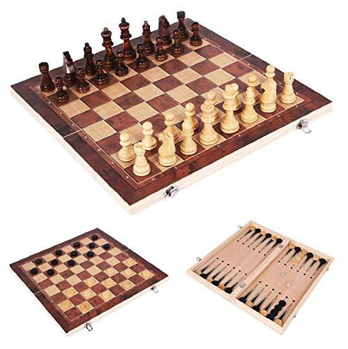 Berrywho 3 in 1 set di scacchi in legno pieghevole, set di backgammon di scacchi a dama, scacchiera da viaggio portatile con interno in feltro di gioco per riporre (34 * 34 cm)