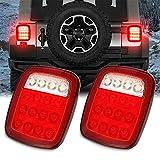Ajboy Lot de 2 feux de position carrés 16 LED pour Jeep Wrangler JK TJ CJ YJ, Abs, 15*17.5*3.2CM