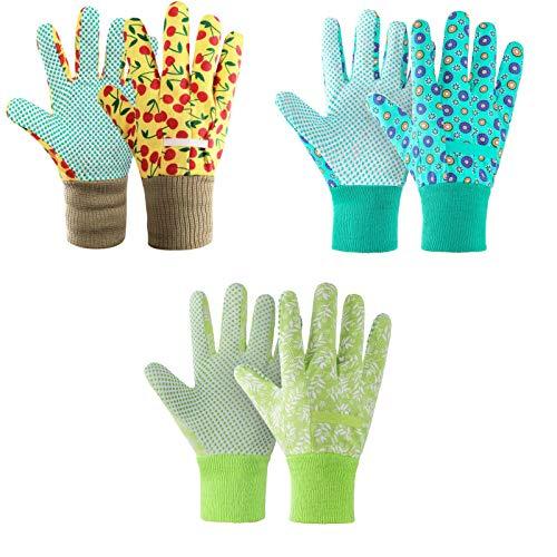 cmjlydh 3er Set Gartenhandschuhe für Damen,Antirutschbeschichtung Arbeitshandschuhe Einheitsgröße mit PVC-Punkten Zum pflanz-und Arbeitshandschuhe Gartenarbeit